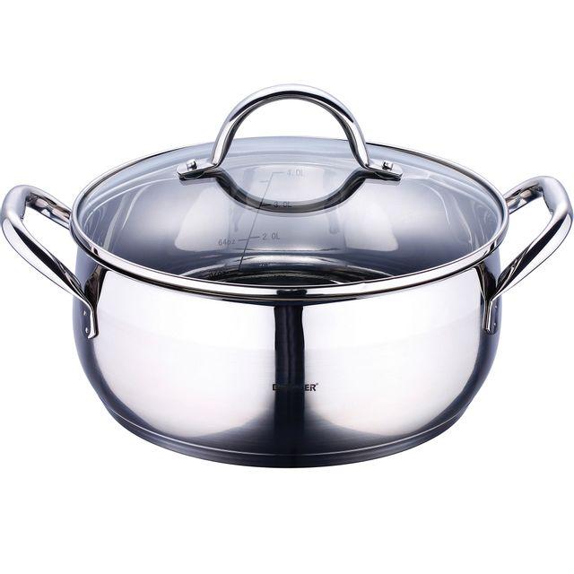 Bergner gourmet - casseroles acier inoxydable avec couvercle 28x13 cm 8l bon pour linduction