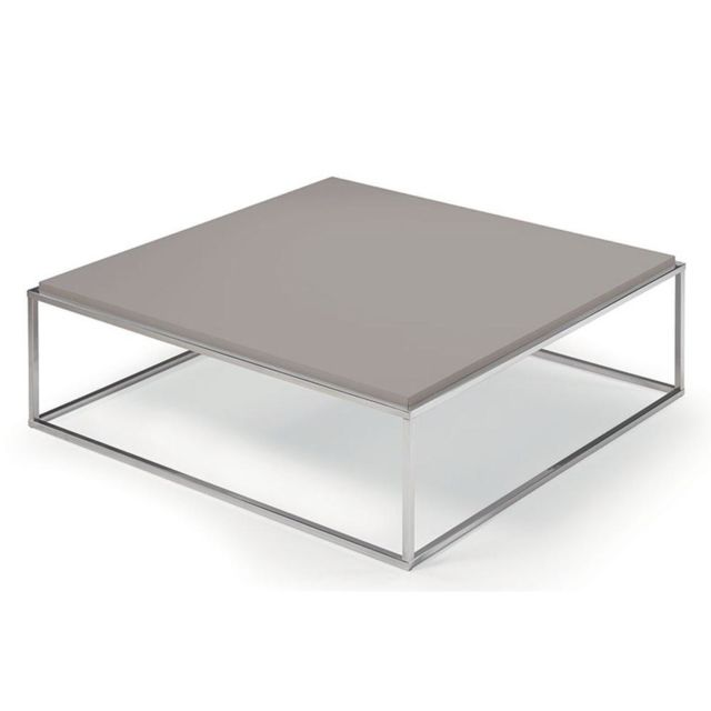 Inside 75 Table basse carrée Mimi Xl taupe structure acier inoxydable poli
