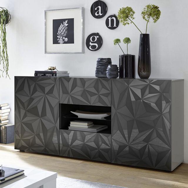 Sofamobili Buffet 180 cm design gris laqué Antonio 3