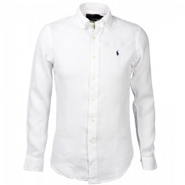 Ralph Lauren - Chemise lin blanche slim - pas cher Achat   Vente ... 49baa85ac91b