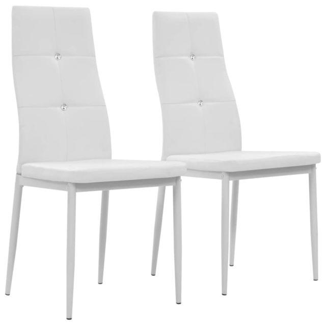 Icaverne Chaises de cuisine et de salle à manger edition Chaise de salle à manger 2 pcs Cuir artificiel 43x43,5x96 Blanc