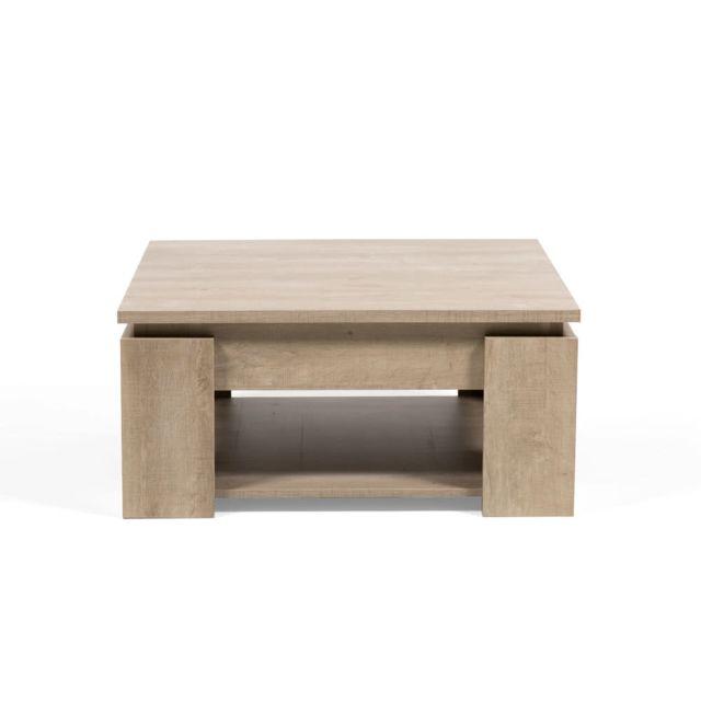 Marque Generique Table basse carrée en bois à double plateau Longueur 80 cm Segur - Chêne champagne