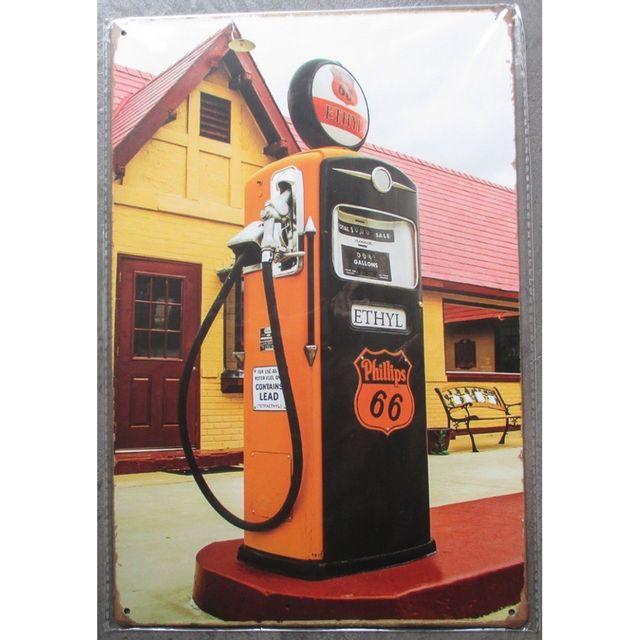 Universel Plaque pompe a essence phillips 66 orange garage tole pub