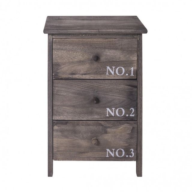 Mobili Rebecca Commode Table de Chevet 3 Tiroirs Bois Gris Vintage Country  Chambre Bain 59518a80fef2