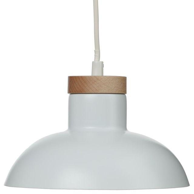 Atmosphera - Suspension bois blanc en métal Ø20cm