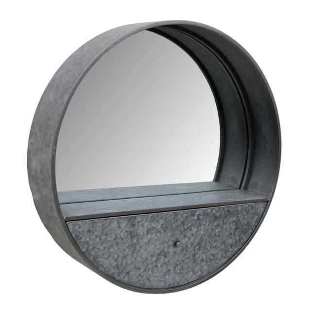 L'ORIGINALE Deco Miroir Rond Industriel Etagère Tiroir Industrielle ø70 cm