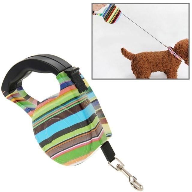 Wewoo Laisse flexible escamotable de chien d'opération facile de style de bande de couleur de 5m