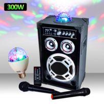 Mydj - Enceinte 300W Dôme Magic + Micro Vhf/Filaire Usb/BT/SD + Ampoule d'ambiance Rvba