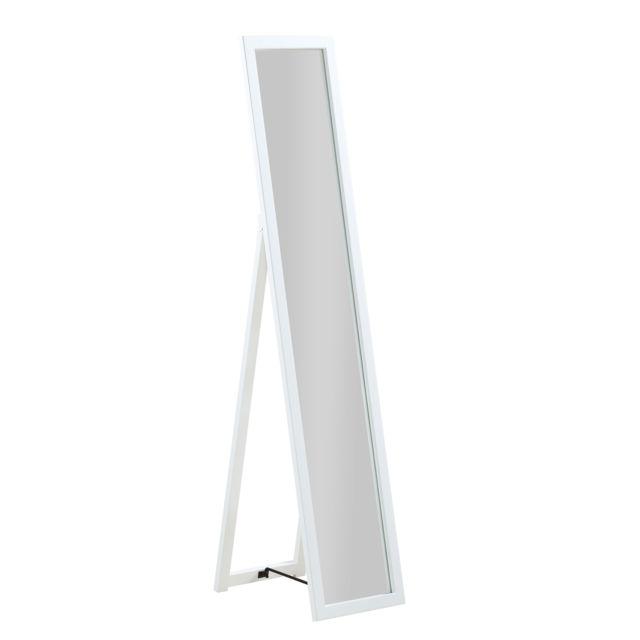 Pegane - Miroir sur pied, Psyché en bois blanc, pliable - Dim : L 30 ...