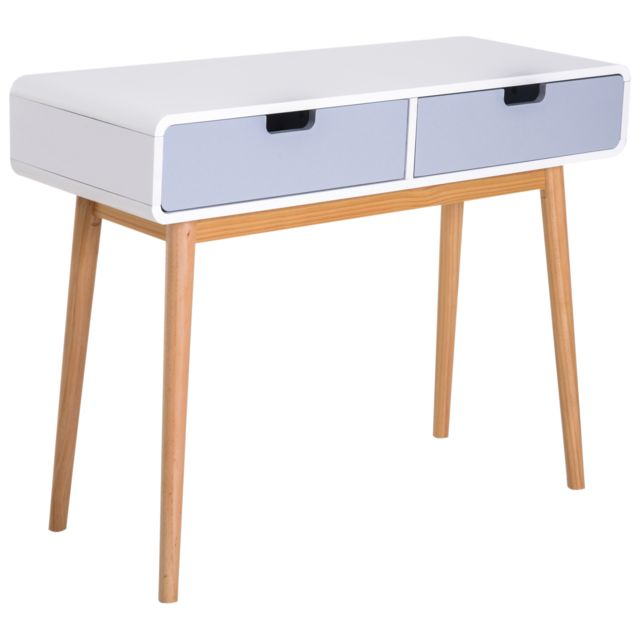 Homcom Table Console Design Scandinave 100l X 38l X 76h Cm 2