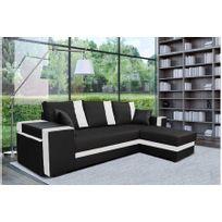 821b4b6fd03dc CHLOE DESIGN - Canapé d angle convertible ZUES - Noir et blanc - Angle droit