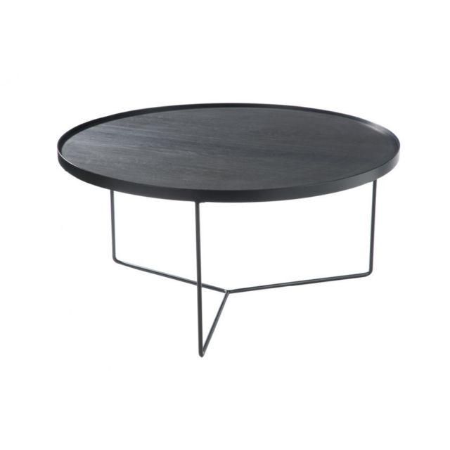 HELLIN TABLE BASSE RONDE MODERNE BOIS/METAL