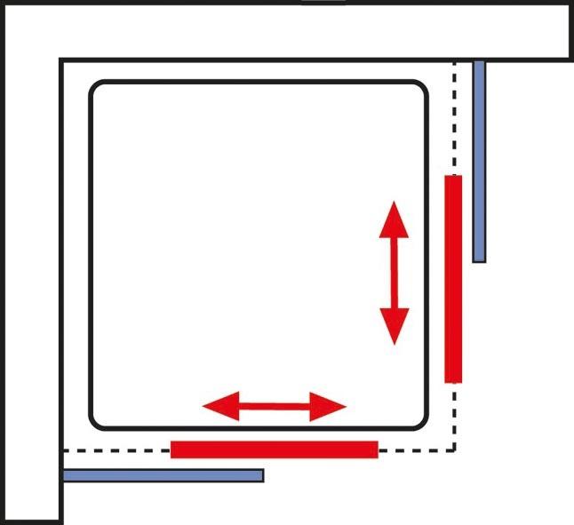 accès d'angle avec portes coulissantes, 88x175 cm