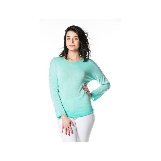 Princesse Boutique - Pull fin Turquoise manches à perles - pas cher ... d7f04a609ea