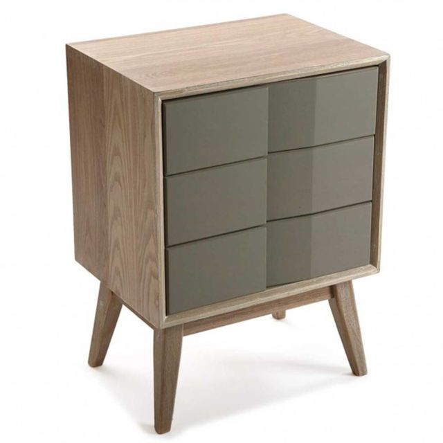 Inside 75 Commode Arvika moderne bois et laque taupe 3 tiroirs