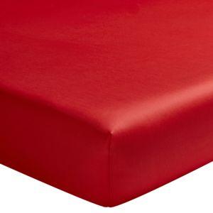 essix drap housse uni en satin de coton cerise 80 x 200 cm pas cher achat vente draps. Black Bedroom Furniture Sets. Home Design Ideas