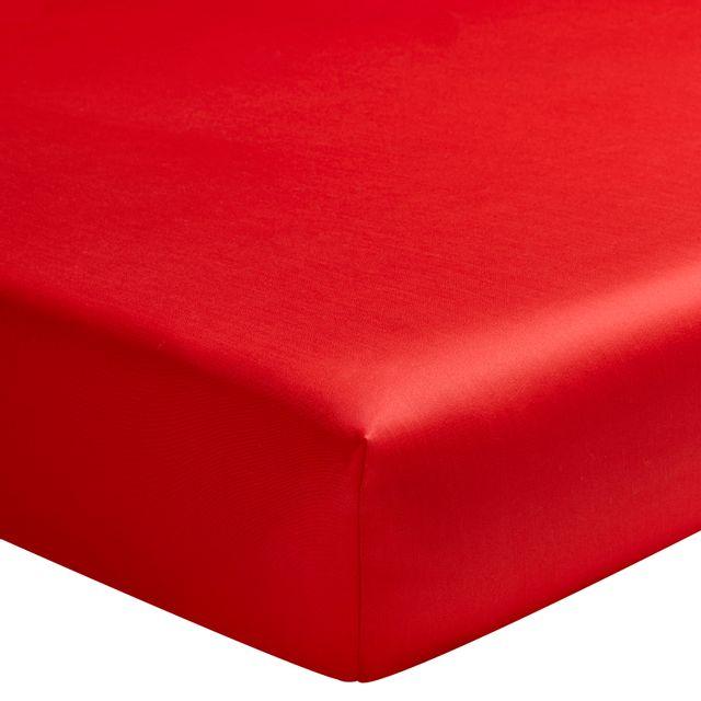 essix drap housse uni en satin de coton cerise 90 x 190 cm pas cher achat vente draps. Black Bedroom Furniture Sets. Home Design Ideas