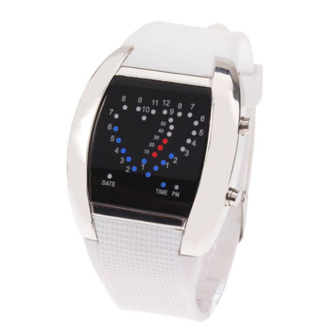 Wewoo - Montre Led rouge et blanc de   montre-bracelet Digital de lumière  bleue 6898a49675d