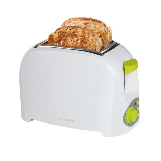 DOMOCLIP Grille-pain électrique bicolore blanc/vert DOD112BV Puissance de 750 W - Grille-pain - Thermostat variable - Éjection automatique - Tiroir ramasse-miettes - Bouton arrêt, position réchauffage et décongélation