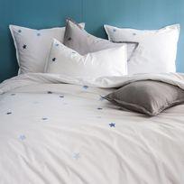 Matt&ROSE - Housse de couette 100% coton broderies étoiles contrastées Douce Nuit - Blanc/bleu - 240x220cm