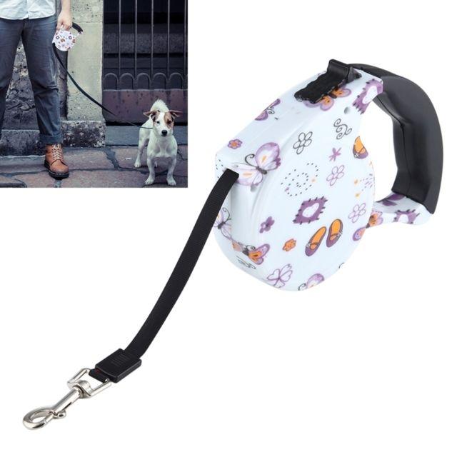 Wewoo Pour la marche quotidienne 5m papillons et laisse escamotable flexible de chien / chat de modèle de fleurs