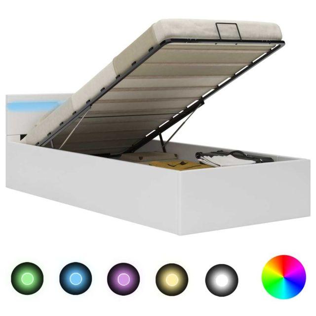 VIDAXL Cadre de lit à rangement avec LED Blanc Similicuir 90x200 cm