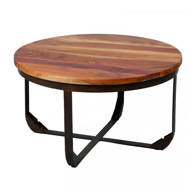 Dansmamaison Table basse ronde Métal/Bois - Nots - Diamètre 78 x H 50 cm