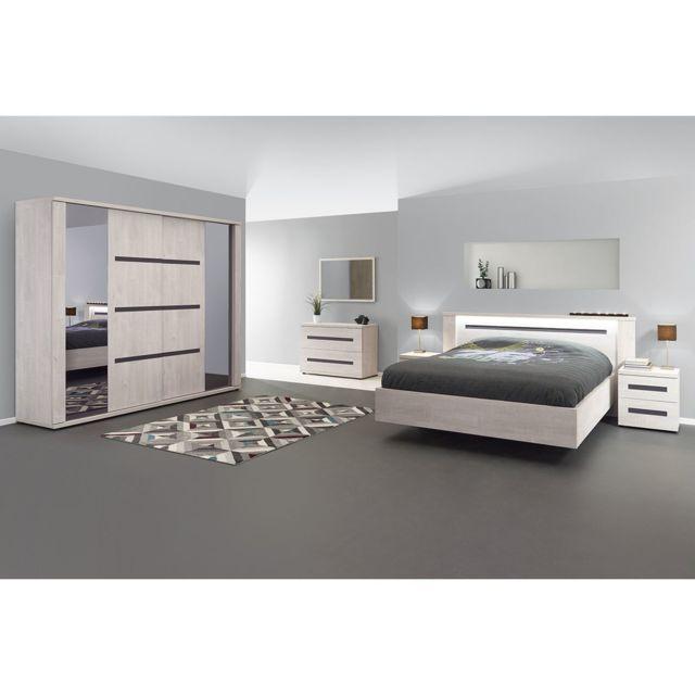 Altobuy Madeleine - Chambre Complète 140x200cm avec Armoire 260cm