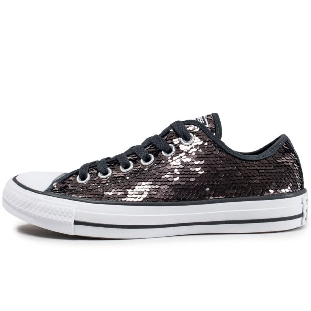 Converse - Chuck Taylor All Star Low Sequin Marron - pas ...