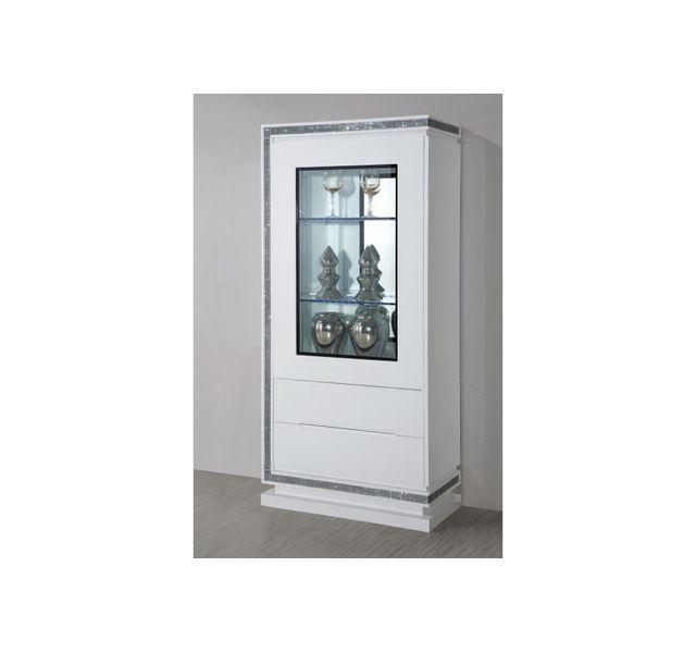 chloe design meuble vitrine collection diamonds bois laqu blanc 80x175x40