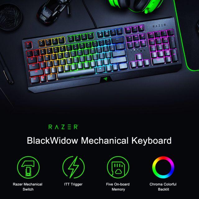 Razer BlackWidow Clavier mécanique 2019 pour le bureau de jeu 104 touches Rvb vert Commutateurs Clavier filaire noir