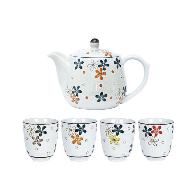 Table Passion Théière + gobelets en porcelaine motif floral - Coffret de 5 pièces Hana