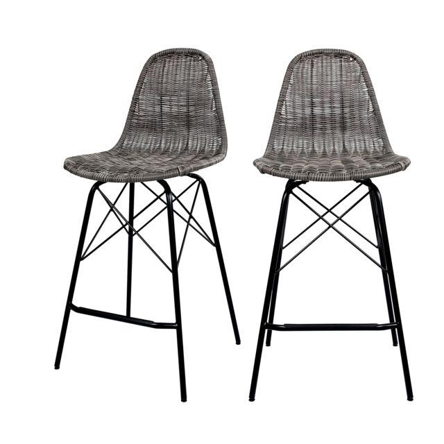 Rendez Vous Deco Chaise de bar mi-hauteur Tiptur en résine tressée grise 63 cm lot de 2