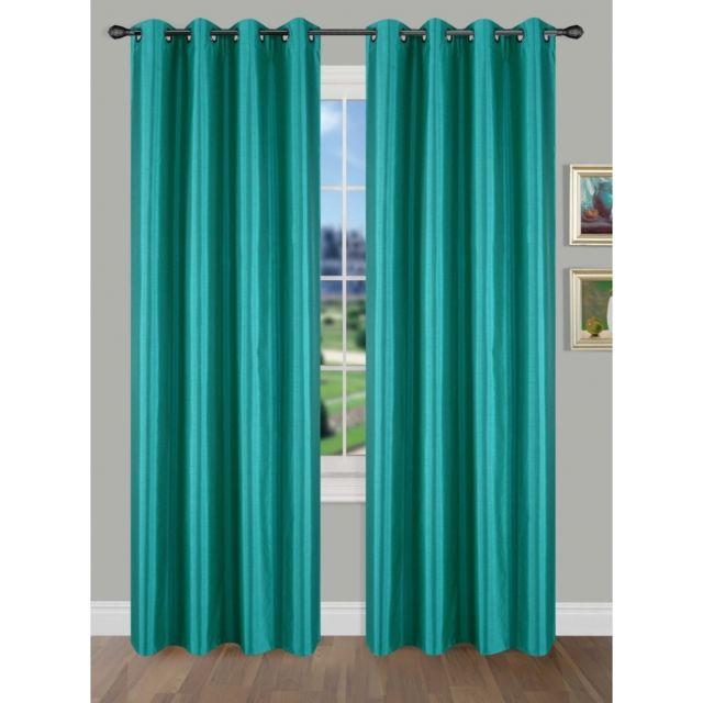soldes univers decor lot de 2 rideaux shantung effet soie turquoise 100 occultant 140 x 260. Black Bedroom Furniture Sets. Home Design Ideas