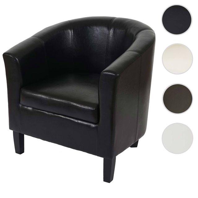 Mendler Fauteuil Newport T379, fauteuil de salon / club, similicuir ~ noir