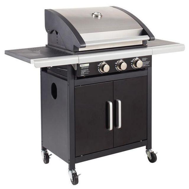 Grill Garden Barbecue américain a gaz 3 brûleurs Acier