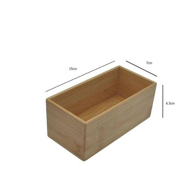 Boîte Rangement Salle de Bain Rectangulaire en Bambou - Longueur 15cm