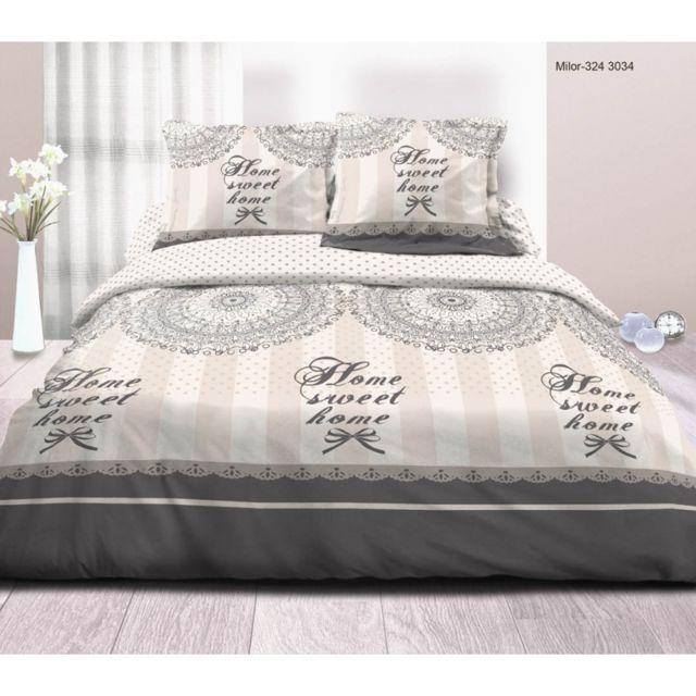 univers decor - parure de draps 4 pièces pour lit 140 x 190 cm sweet
