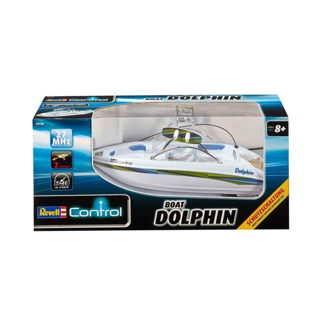 """REVELL Speedboat """"DOLPHIN"""" bateau RC Speedboat """"Dolphin"""" 2 voies, 27Mhz, de 38 m de long! Capot étanche. 2 moteurs pouissants"""
