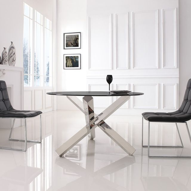 Meubler Design Table à manger ronde en verre transparent Elia