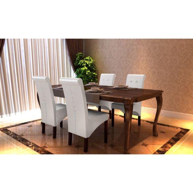 Sans Marque Chaise antique simili cuir blanc lot de 4