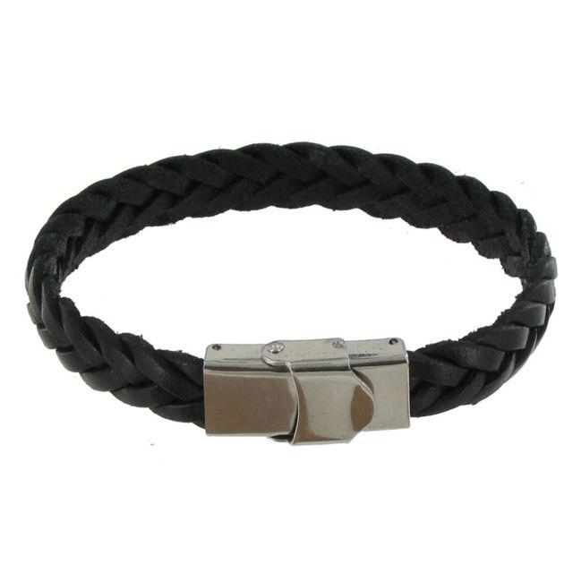 acheter en ligne ec9c5 c50e3 Bracelet Enfant Cuir Noir Tréssé Plat Fermoir Acier Inoxydable