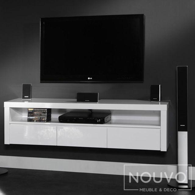 Meuble Tv Suspendu Blanc Design Myriam