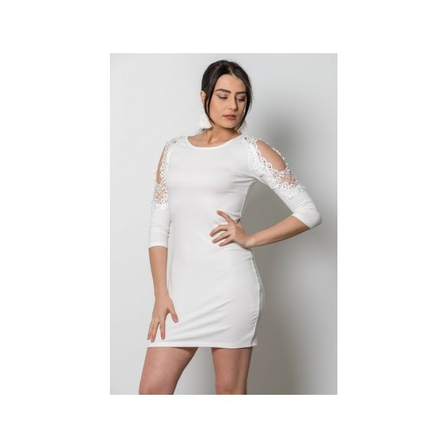 d4f2e59fb7a Princesse Boutique - Robe Blanc manches en dentelles et perles Taille  unique - pas cher Achat   Vente Robes - RueDuCommerce