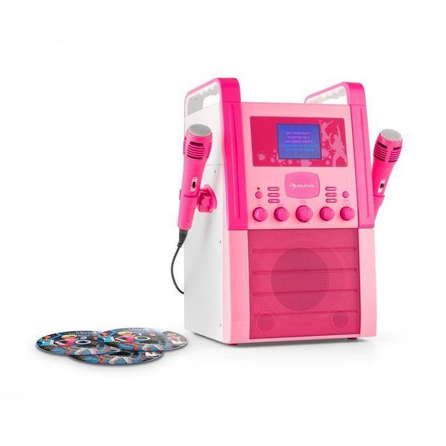 AUNA KA8P-V2 Chaîne karaoké Lecteur CD AUX 2 micros 3x CD+G -rose