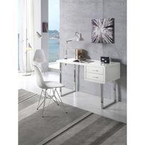 Ma Maison Mes Tendances - Bureau 2 tiroirs en Mdf laqué blanc et pieds en acier Max - L 120 x l 55 x H 76