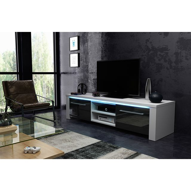 Vivaldi Manhattan 160! Meuble Tv Design blanc mat avec noir brillant. Eclairage à la Led bleue