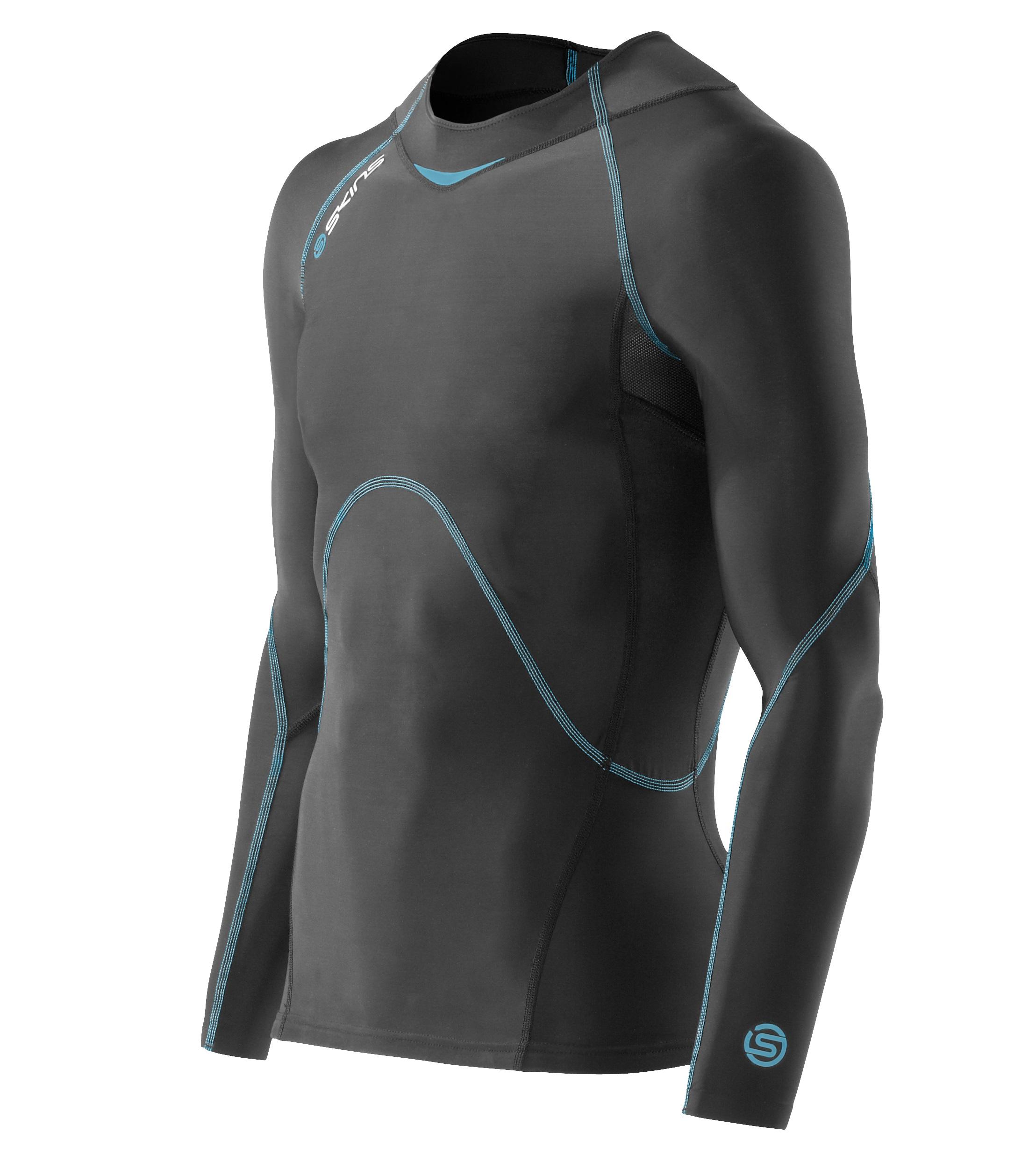 Bio Coldblack Top Long Sleeve Noir Et Bleu tee shirt de compression