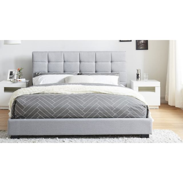 homifab lit adulte avec t te de lit capitonn e en tissu gris clair sommier latte 160x200. Black Bedroom Furniture Sets. Home Design Ideas