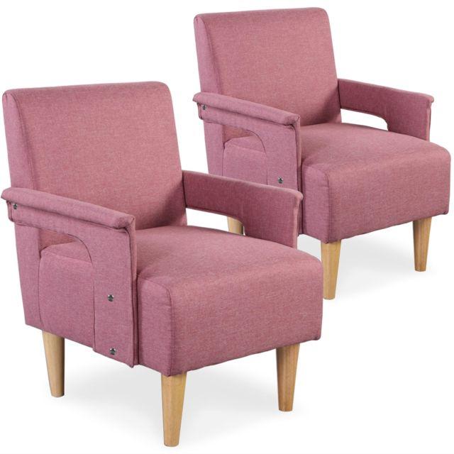 MENZZO Lot de 2 fauteuils Quebec Tissu Rose